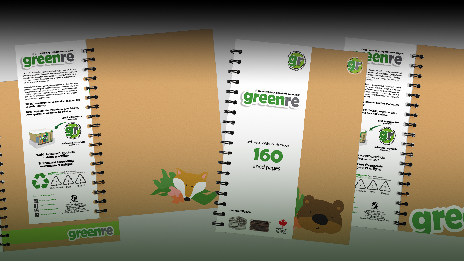 A collection of greenre branded and woodland animal branded notebooks.
