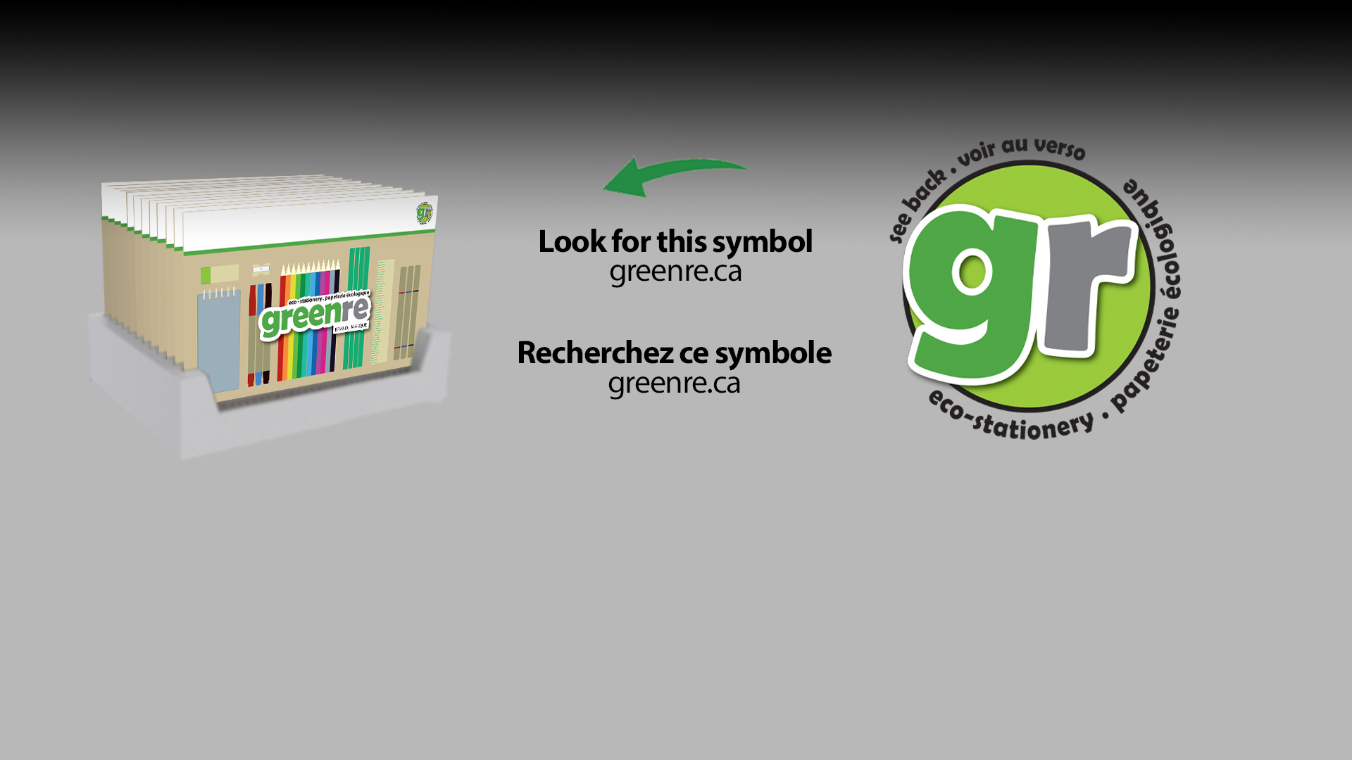 "A skid of greenre products, with arrows explaining how to find products instore using the ""gr"" identifier."