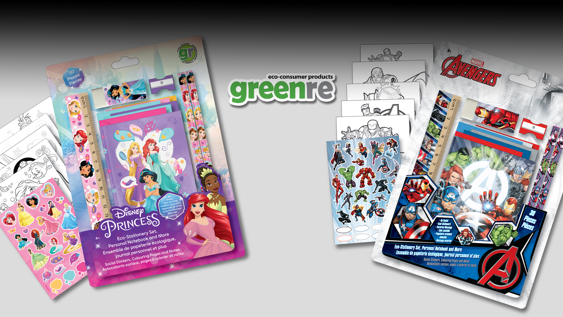 Disney Princess and Marvel's Avengers themed stationery and activity products.