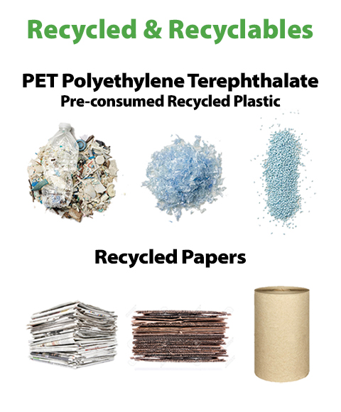 """Recycled: PET Polyethylene Terephthalate Recycled Bottles Pre-consumed Recycled Plastic"" 3 piles of plastic pieces. ""Recycled Papers."" 2 stacks of papers and a cardboard tube."