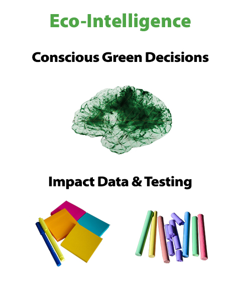 """Eco-Intelligence: Conscious green decisions."" Image of a brain with a green leaf overlaid."