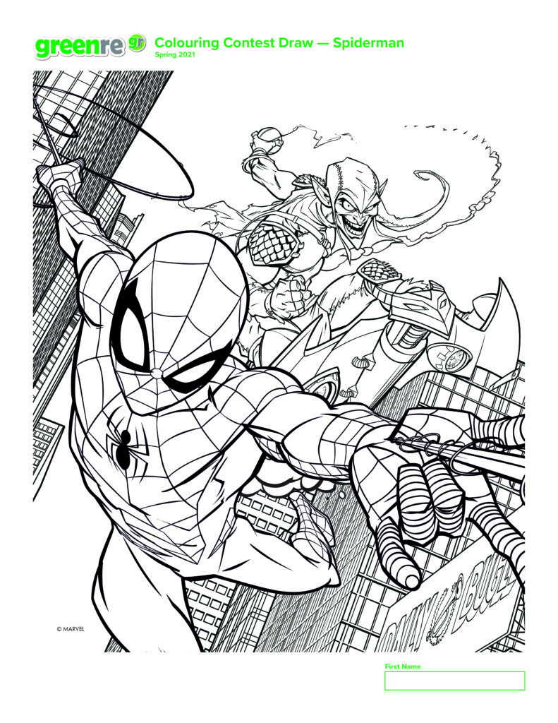 Image of Spiderman colouring page