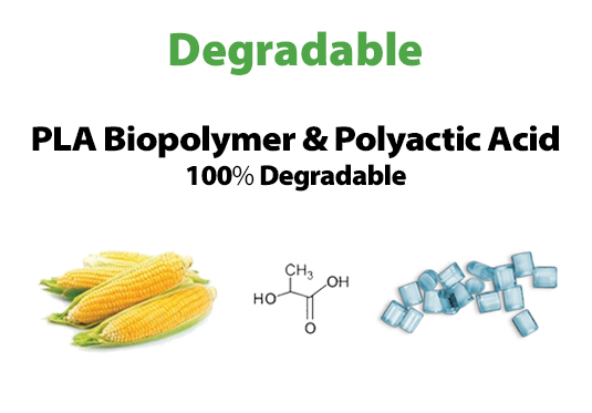 """""""Degradable: PLA Biopolymer / Polyactic Acid. 100% Degradable"""" Image of corn cobs, chemical compound and plastic pieces."""