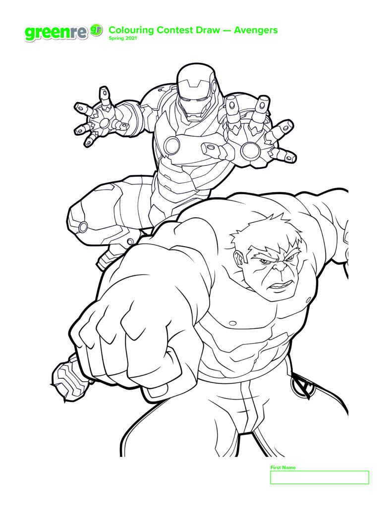 Image of Avengers colouring page